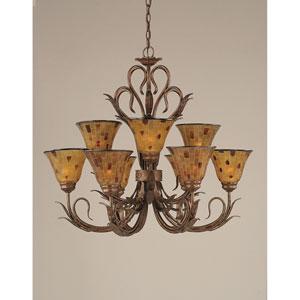 Swan Bronze Nine-Light Chandelier with Penshell Resin Glass