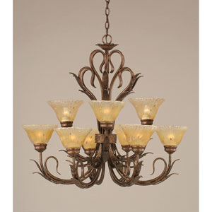 Swan Bronze Nine-Light Chandelier with Amber Crystal Glass