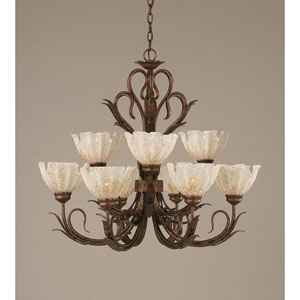 Swan Bronze Nine-Light Uplight Chandelier with Gold Ice Glass Shade