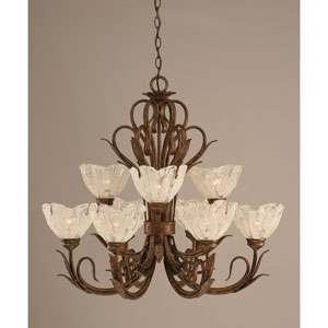 Swan Bronze Nine-Light Uplight Chandelier with Italian Ice Glass Shade