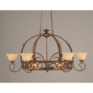 Leaf Bronze Eight-Light Pot Rack with Italian Marble Glass