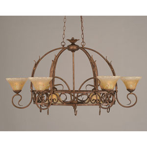 Leaf Bronze Eight-Light Pot Rack with Amber Crystal Glass (Pots Not Included)