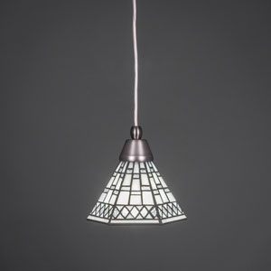 Brushed Nickel One-Light Pendant with Pewter Tiffany Glass