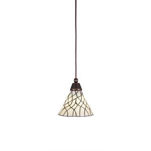 Any Dark Granite One-Light Mini Pendant with Sandhill Tiffany Glass