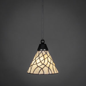 Matte Black One-Light Pendant with Sandhill Tiffany Glass