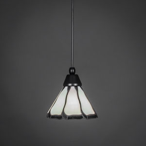 Matte Black One-Light Pendant with Pearl and Black Flair Tiffany Glass