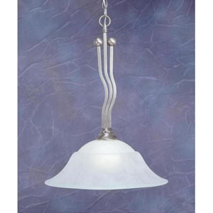 Brushed Nickel One-Light Pendant with White Marble Glass