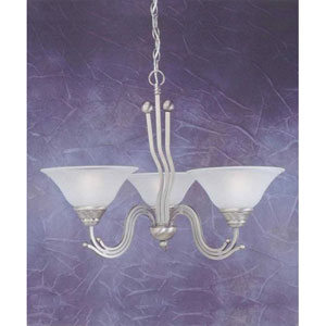 Brushed Nickel Three-Light Chandelier with Dew Drop Glass