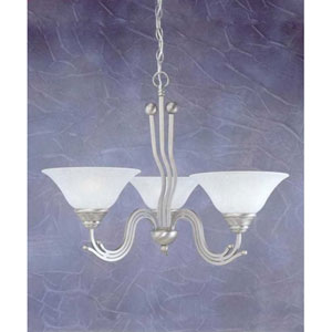 Brushed Nickel Three-Light Chandelier with White Marble Glass