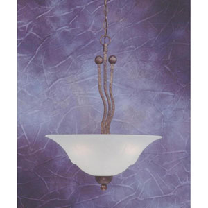 Bronze Three-Light Pendant with White Marble Glass