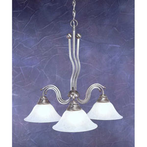 Brushed Nickel Three-Light Downlight Chandelier with White Marble Glass