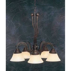 Bronze Five-Light Downlight Chandelier with Amber Marble Glass