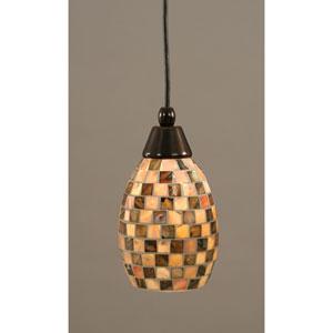 Black Copper Mini Pendant with 7-Inch Seashell Glass