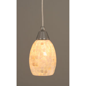 Brushed Nickel Mini Pendant with 7-Inch Seashell Glass