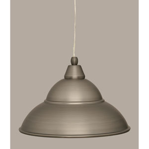 Brushed Nickel 13-Inch One Light Mini Pendant with Brushed Nickel Cone Metal Shade
