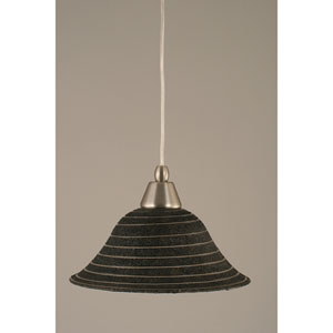 Brushed Nickel Mini Pendant with 10-Inch Charcoal Spiral Glass