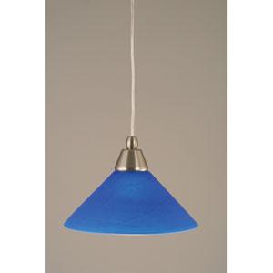 Brushed Nickel Cord Mini Pendant with Blue Italian Glass