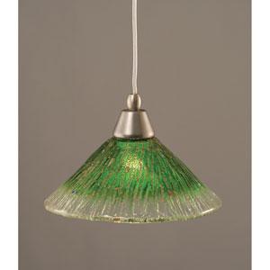 Brushed Nickel Mini Pendant with 10-Inch Kiwi Green Crystal Glass