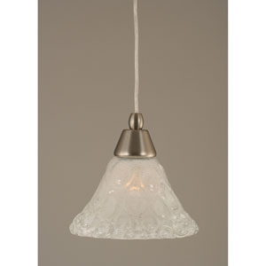 Brushed Nickel Mini Pendant with Bubble Glass