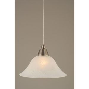 Brushed Nickel Mini Pendant with 10-Inch White Marble Glass