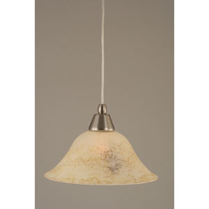 Brushed Nickel Mini Pendant with 10-Inch Italian Marble Glass