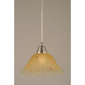 Brushed Nickel Mini Pendant with 10-Inch Amber Crystal Glass