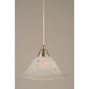 Brushed Nickel Mini Pendant with 10-Inch Frosted Crystal Glass