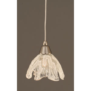 Brushed Nickel Mini Pendant with 7-Inch Italian Ice Glass