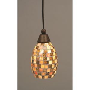 Bronze Cord Mini Pendant with Seashell Glass