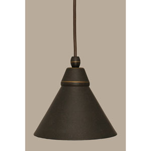 Dark Granite 7-Inch One Light Mini Pendant with Dark Granite Cone Metal Shade