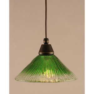 Dark Granite Cord Mini Pendant with Kiwi Green Crystal Glass