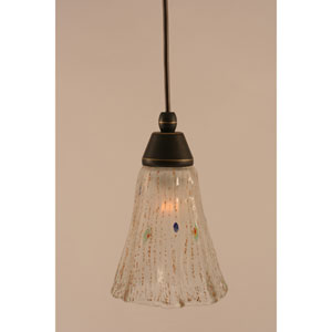 Dark Granite Cord Mini Pendant with Frosted Crystal Glass
