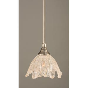 Brushed Nickel One-Light Mini Pendant with Italian Ice Glass