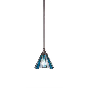 Any Brushed Nickel One-Light Mini Pendant with Sea Ice Tiffany Glass
