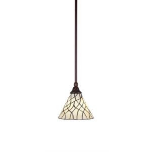 Any Bronze One-Light Mini Pendant with Sandhill Tiffany Glass