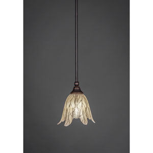 Dark Granite One-light Pendant with Vanilla Leaf Glass
