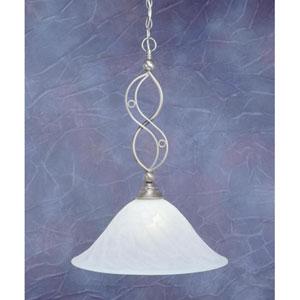 Jazz Brushed Nickel One-Light Pendant with White Alabaster Swirl Glass