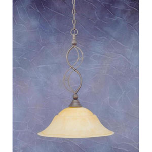 Jazz Bronze One-Light Pendant with French Amber Marble Glass