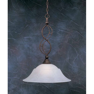 Jazz Bronze One-Light Pendant with White Marble Glass