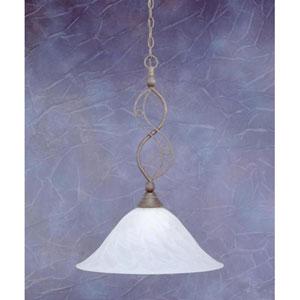 Jazz Bronze One-Light Pendant with White Alabaster Swirl Glass