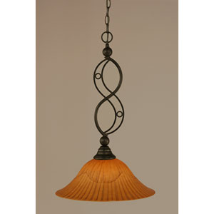 Jazz Bronze One-Light Pendant with Tiger Glass
