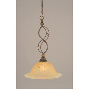 Jazz Bronze One-Light Pendant with Amber Crystal Glass