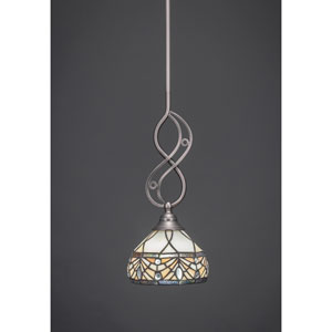 Jazz Brushed Nickel One-Light Pendant with Royal Merlot Tiffany Glass
