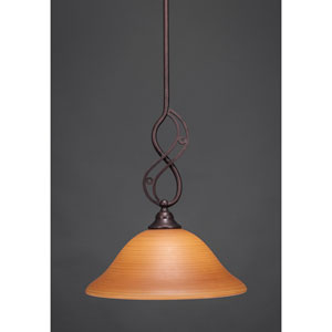 Jazz Bronze One-Light Pendant with Cayenne Linen Glass