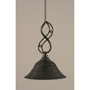 Jazz Black Copper Mini Pendant with Charcoal Spiral Glass