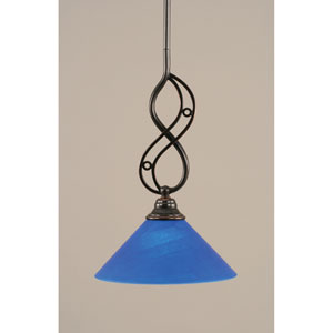 Jazz Black Copper One-Light Mini Pendant with 10-Inch Blue Italian Glass Shade