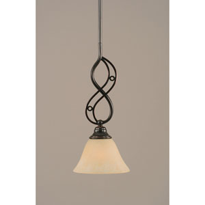 Jazz Black Copper One-Light Mini Pendant with 7-Inch Amber Marble Glass Shade