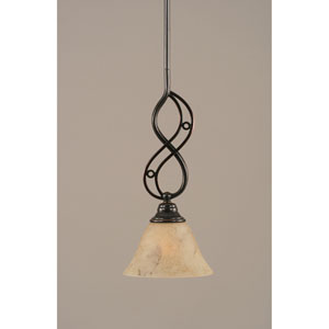 Jazz Black Copper One-Light Mini Pendant with 7-Inch Italian Marble Glass Shade