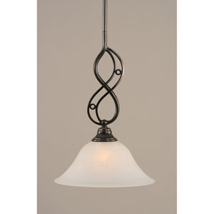 Jazz Black Copper One-Light Mini Pendant with 10-Inch White Alabaster Glass Shade