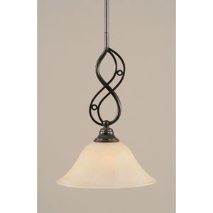 Jazz Black Copper One-Light Mini Pendant with 10-Inch Amber Marble Glass Shade
